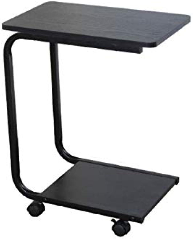 KTH Bedroom Bedside Table Bed Desk Exquisite Fashion Black Wooden Rack Simple Lazy Bedside Table Shelf Mobile Desk