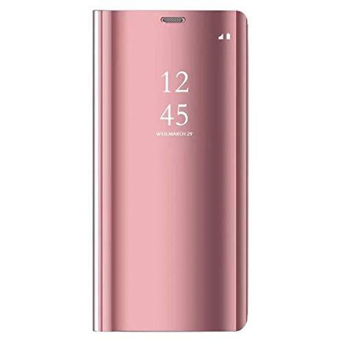 Compatible/Replacement pour Coque Samsung Galaxy S8 Plus, Étui 360 °de Protection Intelligente Vue Claire Miroir Placage Kickstand Caractéristique Flip Housse Samsung S8+ Plus (Or Rose)