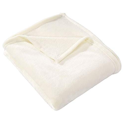 HYSEAS Flannel Fleece Throw Blanket Ivory - Super Soft Plush Microfiber Solid Blanket for Couch, Bed, Chair, Sofa - Fuzzy Cozy Lightweight - 50x60 Inch