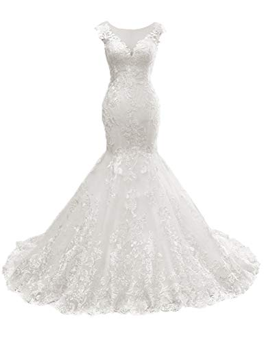 HUINI Brautkleider Lang Meerjungfrau Spitzen Hochzeitskleider Standesamt Brautmode Damen Brautkleid mit Schleppe Elfenbein 40