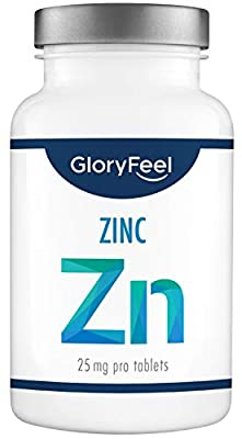 GloryFeel® Zinc 25mg 400 Tablets - High Dosage and Vegan - 25mg Basic Zinc from Pure Zinc Gluconate 1 Year Supply - Laboratory Tested Without unneeded additives Produced in Germany