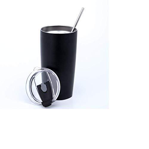 N / A Thermobecher mit Klappdeckel, 590 ml mit Edelstahlstrohhalm + Reinigungsbürste, Kaffeebecher to go, Thermoskanne Trinkbecher Erfrischungsteränk, BPA frei