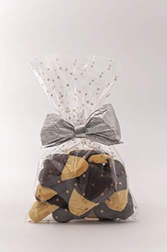 Italpak Buste, Sacchetti Trasparenti per Alimenti Pois, Oro, 15x25cm, 50 Pezzi