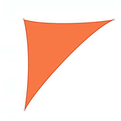 VOXKELY Toldo triangular resistente al agua, 98% de bloqueo UV, toldo para exterior patio jardín (3 m x 3 m x 4,3 m), color naranja