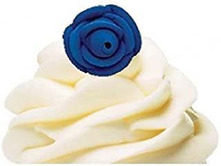 CakeSupplyShop Small Edible Royal Icing Roses for Cakes and Cupcakes 12 count (Royal Blue)