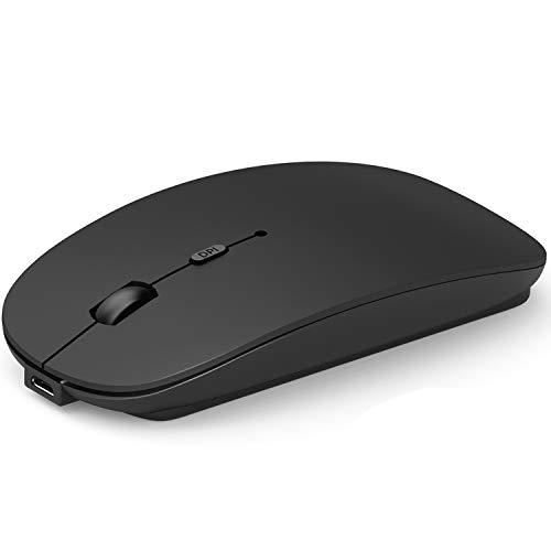 Misilmp Wireless Bluetooth Maus, Mini Mouse mit Zwei Modus   Bluetooth + 2.4GHz   USB Wiederaufladbar   1600DPI   Einstellbar für Laptop