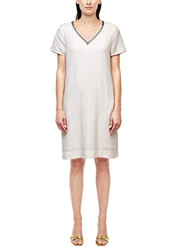 s.Oliver BLACK LABEL Damen Leichtes Leinenmix-Kleid White 34