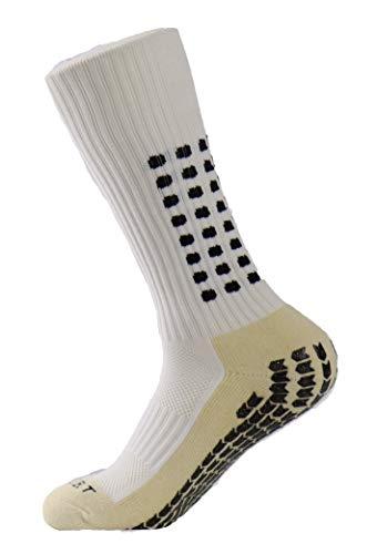 PreSox, calze sportive unisex con pallini in gomma per una maggiore aderenza, perfette per calcio, baseball e football, con parastinchi, White, Taglia