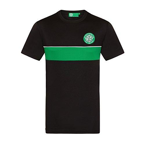 Celtic FC Camiseta Oficial de Entrenamiento - Para Hombre - Poliéster - Rayas Negro/Verde - XXL