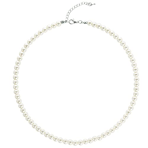 BABEYOND Round Imitation Pearl Necklace Wedding Pearl Necklace for Brides White (Diameter of Pearl 6mm)