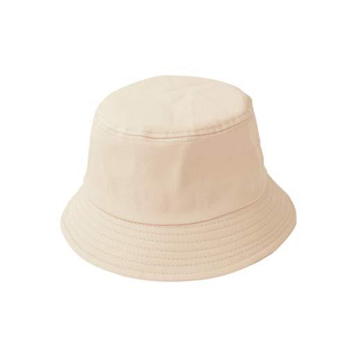 Karrychen Sombrero de Cubo Plegable de Verano para niños y Adultos Coreanos Color sólido Hip Hop de ala Ancha Playa Protección UV Tapa Redonda Protector Solar Gorra de Pescador - Azul Cielo # Niño