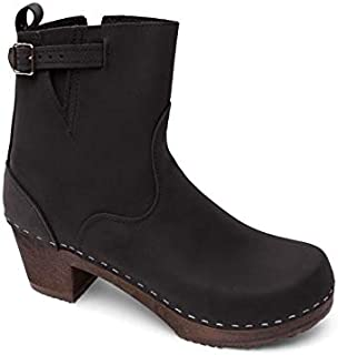 Swedish High Heel Wooden Clog Boots for Women   Manhattan