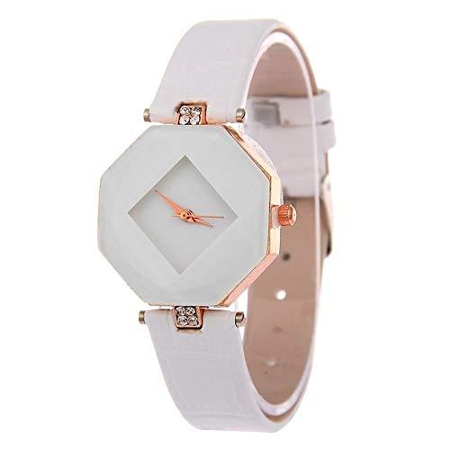 para Relojes Reloj de Pulsera Reloj de Pulsera de Cuarzo de Cuero de Cuero de Corte de Gema SSL para Damas (Rojo) (Color : Blanco)