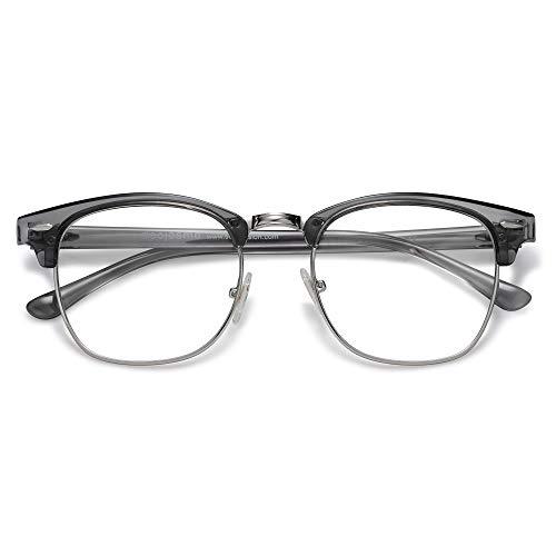SOJOS Damen Herren Sonnenbrille Polarisiert UVprotect Optik Retro Vintage Horn Gestell Halbrahmen SJ5018 (C8 Kristall Grau Rahmen / Silber Rand / Anti-Blaulicht-Linse)