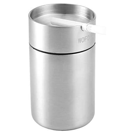 Car Ashtray Smokeless, Stainless Steel Ashtrays, Cigarette Ash tray for Car or Outdoor Use, Ash Holder for Smokers, Windproof Automatically Extinguished Ash Tray (Large)