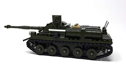 Modbrix WW2 Bausteine Panzer SU-85 Jagdpanzer inkl. 2 Minifiguren Soldaten, 338 Klemmbausteine