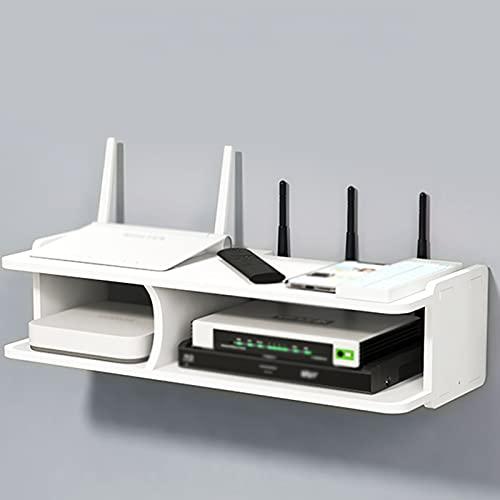 LYFANG Caja de Almacenamiento de Enrutador Inalámbrico de Hoja Engrosada Caja de Almacenamiento WiFi con Partición en el Medio Caja de Almacenamiento de Enrutador WiFi Blanco Oficina Sala Estar