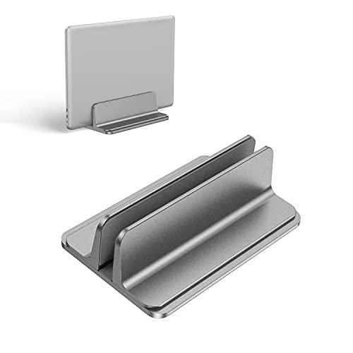Kallrra Soporte Portatil Vertical, Soporte Tablet Aluminio con Base Ajustable Laptop Stand, Soporte para Portatil Compatible con MacBook Pro/Air, iPad, Huawei, HP, DELL, Netbooks, Lenovo, Gris