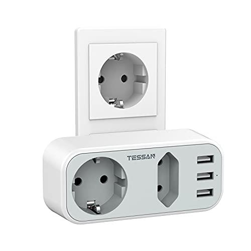 Doppelstecker für Steckdose, TESSAN 5 in 1 USB Steckdose mit 3 USB Anschluss, Mehrfachstecker Steckdosenadapter 2 Fach mit USB Ladegerät, Steckdosenverteiler Kompatibel für Phone Laptop, Grau