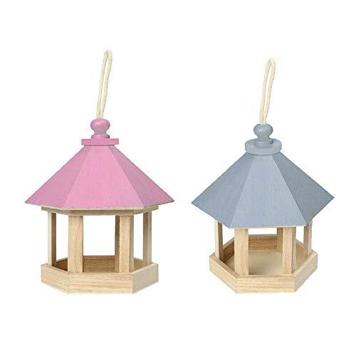 Vogelfutterstation zum Aufhängen, aus Holz, für Veranda, Garten, Futterstation, dekoratives Vogelhaus-Zubehör (hellblau)