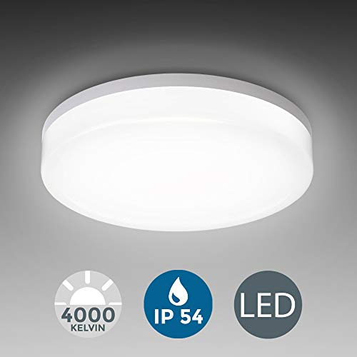 Plafón LED blanco I Panel LED de 13W Lámpara de techo moderna para baño LED Ø220mm IP54 I Plafón I Blanco neutra 4000K I 1600LM