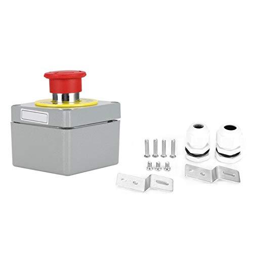 Botón Control de Parada de Emergencia Caja de Control Interruptor pulsador A Prueba de Polvo Impermeable 80x75x60 IP66 1 botón(80 * 75 * 60)