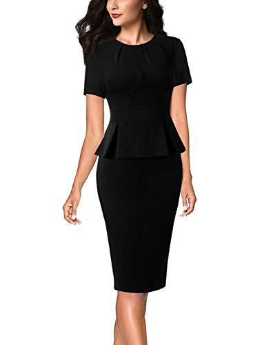 VFSHOW Womens Black Pleated Crew Neck Peplum Work Business Office Church Bodycon Pencil Sheath Dress 3593 BLK XXL