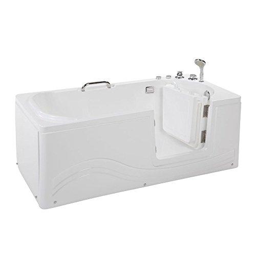 Home Deluxe - Seniorenbadewanne inkl. Whirlpool- Vital M rechts - Maße: 153 x 76 x 64cm - inkl. komplettem Zubehör | Badewanne mit Tür, Senioren Badewanne mit Einstieg, Whirlpool-Badewannen