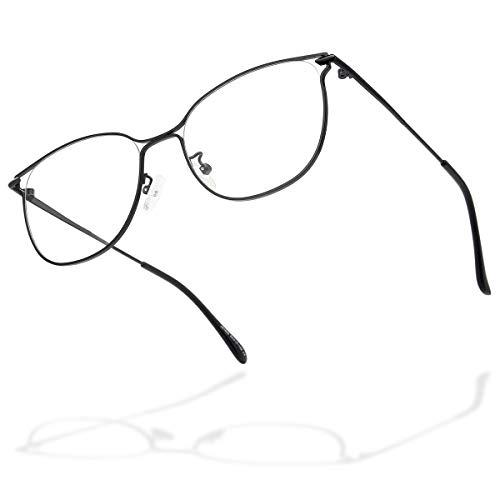 Gaoye Blue Light Blocking Glasses Women Men, Computer Gaming Fake Eyeglasses Cat Eye Fashion Metal Eyewear-Anti Glare/UV (Black, Clear)