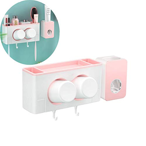 ZCX Couple Toothbrush Holder Suction Wall Multi-Function Washing Toothbrush Cup Holder Rack Storage Toothbrush Tube Toothbrush Holders (Color : Pink)