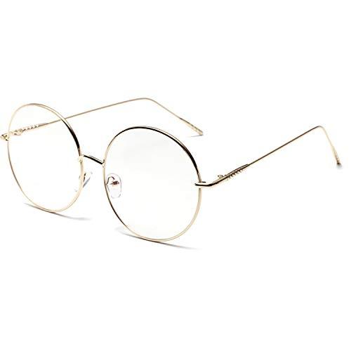 大きめ 丸メガネ 華奢 ステンレス フレーム 伊達メガネ 眼鏡 サングラス (ゴールド) [並行輸入品]