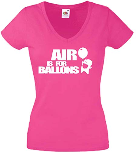 JINTORA T-Shirt - Chemise Femme Rose - V-Cou - Taille S - l'air est pour Les Ballons - JDM/La Coupe - pour la fête Carnaval Travail et Loisirs