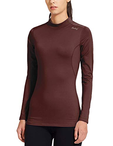 BALEAF Women's Fleece Thermal Mock Neck Long Sleeve Running Shirt Workout Tops Maroon Size M