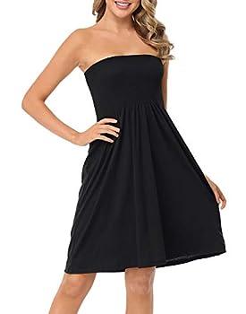 HDE Mini Smocked Dress for Women Strapless Summer Dresses Beach Cover Up Black