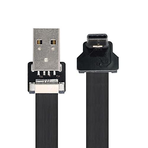 ChenYang CY Tipo-A USB 2.0 macho a tipo C USB-C macho hacia arriba en ángulo de 90 grados de datos plano delgado FPC cable 200CM para FPV y disco y teléfono