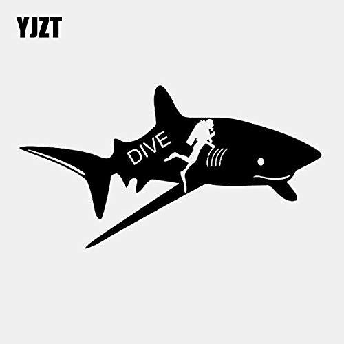 BJDKF 17,4 cm * 9,4 cm Boot Sea Life Yeti Surf Auto Aufkleber Shark Vinyl Auto Aufkleber Decor Art Schwarz/Silber C24-0564 Silber