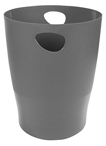 Exacompta 45307D ECOBIN Papierkorb 15 Liter mit Griffen. Eleganter und robuster Papierkorb und Mülleimer im modernen Design mausgrau