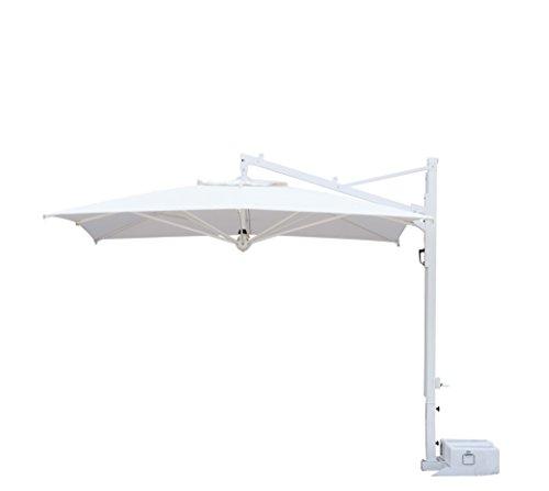 Parasol déporté - Galileo White ou Inox Carré 3x3m Acrylique Dralon 350g/m2 Noir S1 Mât Blanc Sans volants