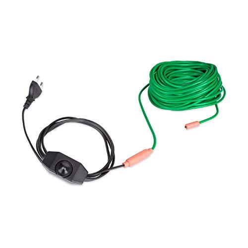 Waldbeck Greenwire Select 20 cable calefactor de plantas - 20 m de largo de calefactor + 2 m de alimentación, con termostato, 5-25 °C por encima de la temperatura ambiente, 6 W/m de potencia, IP68