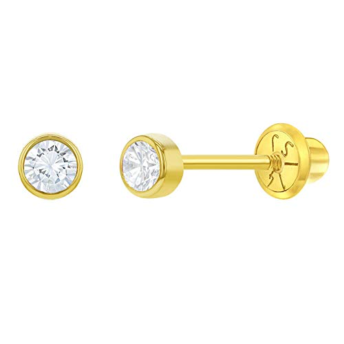 14k Yellow Gold Girl's 3mm Bezel Round Simulated Diamond Cubic Zirconia Baby Screw Backs, Safety Screw Back Locking for Children Earrings for Babies, Infants and Toddlers