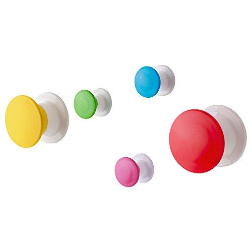 IKEA LOSJON wandhangers, meerkleurige kinderhaakjes voor kinderen Knoppen Bed Bad- 5 Pack