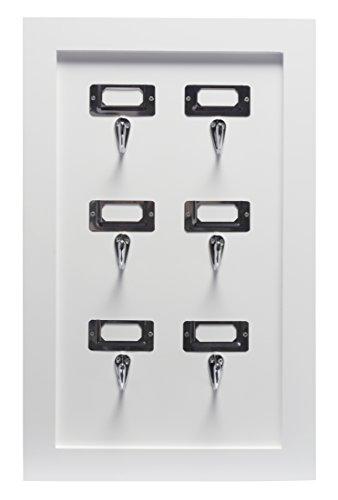 DURAline Schlüssel Halter Dekoratives Wandregal, MDF, Weiß, 31 x 5 x 49 cm