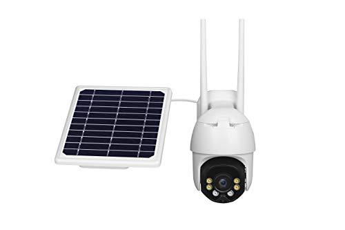 Kacsoo Cámara De Vigilancia Exterior WiFi Monitoreo Panorámico De 360°Panel Solar De 8w Dos Canales De Audio Luz De Relleno Inteligente Detección De Movimiento Ip67 Impermeable y a Prueba De Polvo