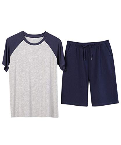 Jacansi Herren Rundhals Zweiteiliger Pyjama Shorty Sleepwear Loungewear aus Baumwolle...