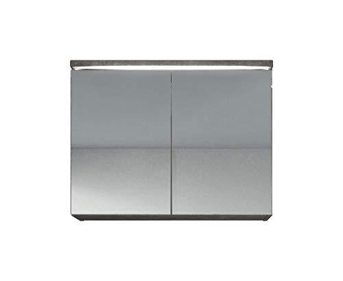 Badplaats B.V. Spiegelschrank Paso 80 cm Beton (Grau) - Schrank Spiegelschrank Spiegel Badezimmer Badmöbel Set Hängeschrank