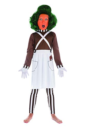 Bristol Novelty CF179 Oompa Loompa Kostüm, Mädchen, Braun/Weiß, 6-8 Jahre