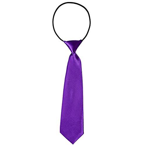 DonDon Corbata para niños con aire de seda brillada - 7 cm de ancho - con elástico - lila