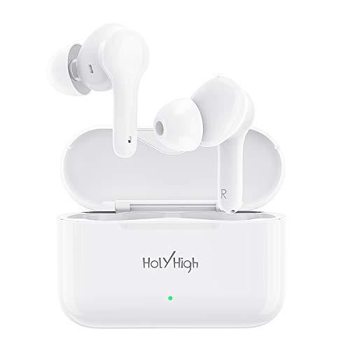 HolyHigh Auriculares Inalambricos, 【2020 Último Modelo】 Auriculares Bluetooth con Microfono Estéreos Verdaderos, In-Ear Bajos Profundos, Auriculares Inalámbricos Deportivos con 30H Estuche