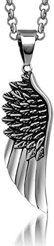 niuziyanfa Co.,ltd Gargantilla para Hombre, Collares de Acero Inoxidable, Vintage, gótico, con Plumas, alas de ángel, Colgantes, Collar, joyería Retro Punk, 55 cm