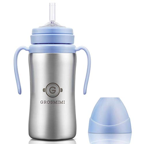 Grosmimi Vacuum Insulated Sippy Cup with Straw with Handle for Baby and Toddlers, Stainless 10 oz (Sky blue)